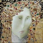 Icono Duccati - óleo sobre lienzo y aplicaciones y pan de bronce 36 x 36 cm