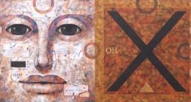 Labios antiguos acrilico sobre lienzo 70 x 140 cm