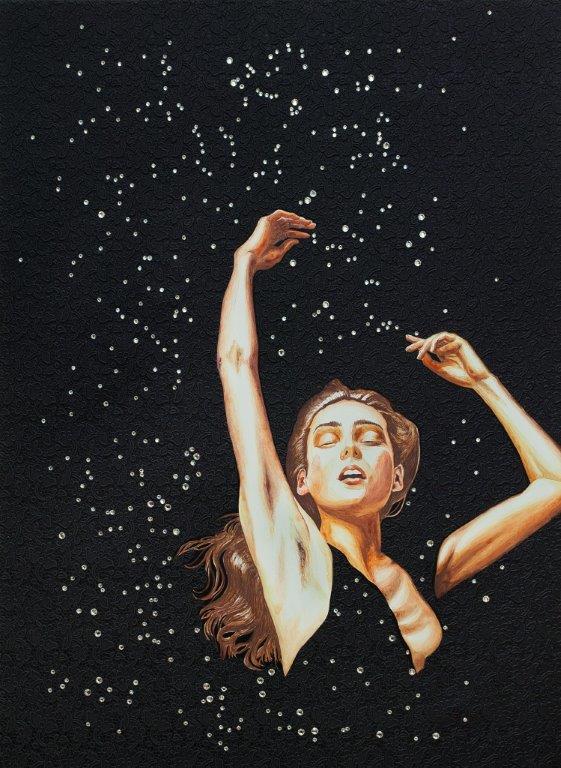 Constelación II - óleo y técnica mixta sobre tela, 83 x 64 cm.
