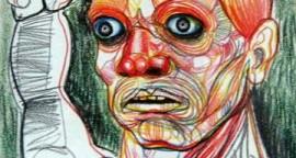 Guerrero lapiz de color sobre papel 34 x 25 cm