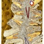 Huaca II - acuarela y tierra de color sobre papel de algodón, 35 x 25 cm.