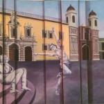 Bailando en la plaza - óleo sobre tela con paneles ensamblados, 60 x 80 cm.