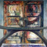 José Gómez - Frente al puente, óleo sobre lienzo - 100 x 90 cm