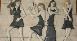 Teresa Carvallo - Poses, relieve en cerámica sobre trupán - 50 x 70 cm