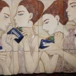 Perfume de mujer - ceramica de alta temperatura, 30 x 40 cm.
