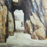 """Playa Las gramas"", acuarela, 42 x 54 cm."