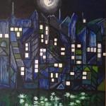 """Franco Vella - """"Nocturno"""", óleo sobre lienzo 76 x 61 cm"""