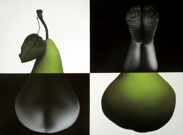 """""""Y su fruto es el pecado, un pecado (muy) original"""", acrílico sobre lienzo, 112 x 150 cm."""