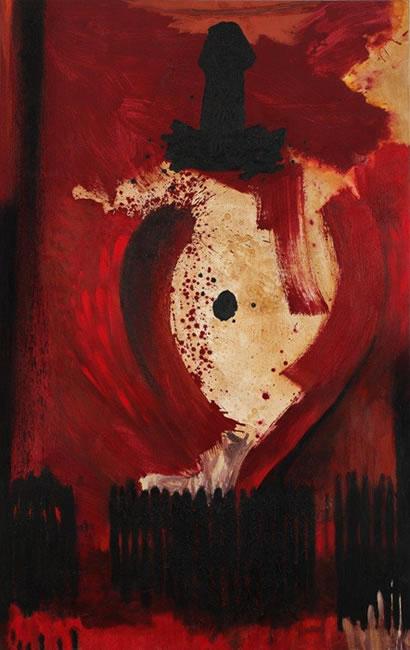 """""""Ombligo"""", mixta sobre lienzo, 240 x 150 cm."""