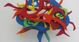 """Carmen Letts. Life posterior. Tecnica mixta sobre mdf y madera. 90x90x10 cm 270x144 - """"Paraíso"""", individual de Carmen Letts"""