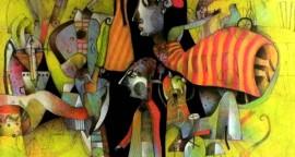 "Voladora acrilico sobre lienzo 100 x 100 cm 270x144 - ""Caverna"", individual de Alberto Flores"