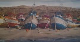 Puerto Mancora - acrílico sobre lienzo 70 x 210 cm.