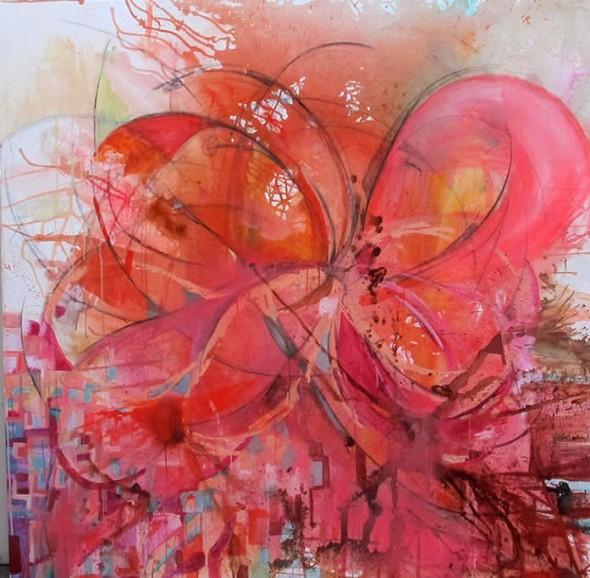 Eclosión - mixta sobre lienzo 200 x 200 cm.