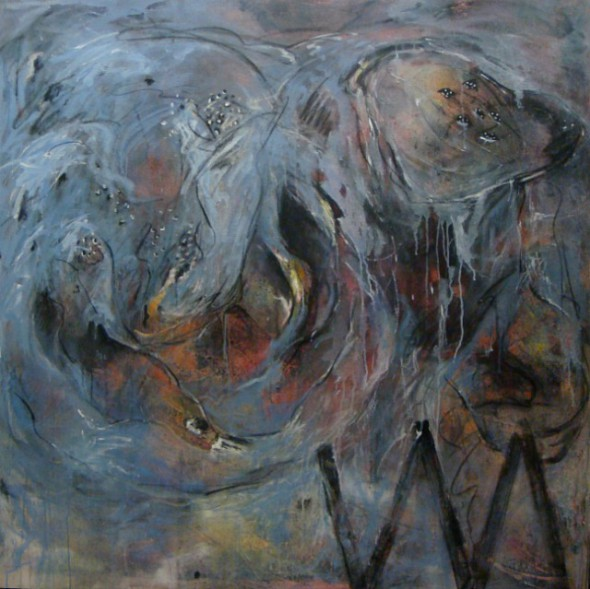 Pisonal 1, acrílico y técnica mixta sobre lienzo, 150 x 150 cm