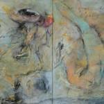 Segni del inconscio, acrílico y mixta sobre lienzo, 100 x 200 cm.
