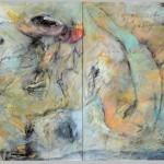 Charo Zapater: Segni del inconscio - Acrílico y mixta sobre lienzo 100 x 200 cm.