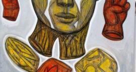 Luis Castellanos: Genio - mixta sobre lienzo 160 x 120 cm.