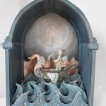 La luna 13 y los peces voladores - ceramica, 35 x 60 x 82 cm.