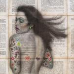 """A flor de piel 2015. Collage y Acrílico sobre MDF. 30 x 30 cm 150x150 - """"Retratos y todo lo que se llama cara"""" de John Chauca"""