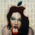 Apple-logía del deseo II, 2015. Collage y Acrílico sobre tela. 115 x 115 cm