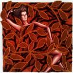 Blossoms II, mixta sobre tela, 25 x 25 cm.