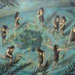 Las mariscadoras, mixta sobre tela, 98 x 125 cm.