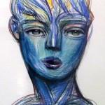 Azul (serie los sonambulos) - tiza pastel sobre papel, 98 x 68 cm.