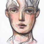 Contemplándote (serie los sonambulos) - tiza pastel sobre papel, 98 x 68 cm.