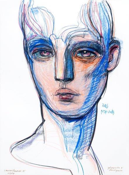 Rios profundos (serie los sonambulos ) - tiza pastel sobre papel, 98 x 68 cm.