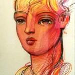 Vida (serie los sonambulos ) - tiza pastel sobre papel, 98 x 68 cm.