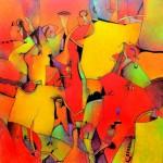 """Alberto FloresTiempo Rojo acrilico sobre tela140x140cm 150x150 - """"El viaje"""" de Alberto Flores"""