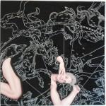 La noche - óleo y tecnica mixta sobre tela, 150 x 150 cm.