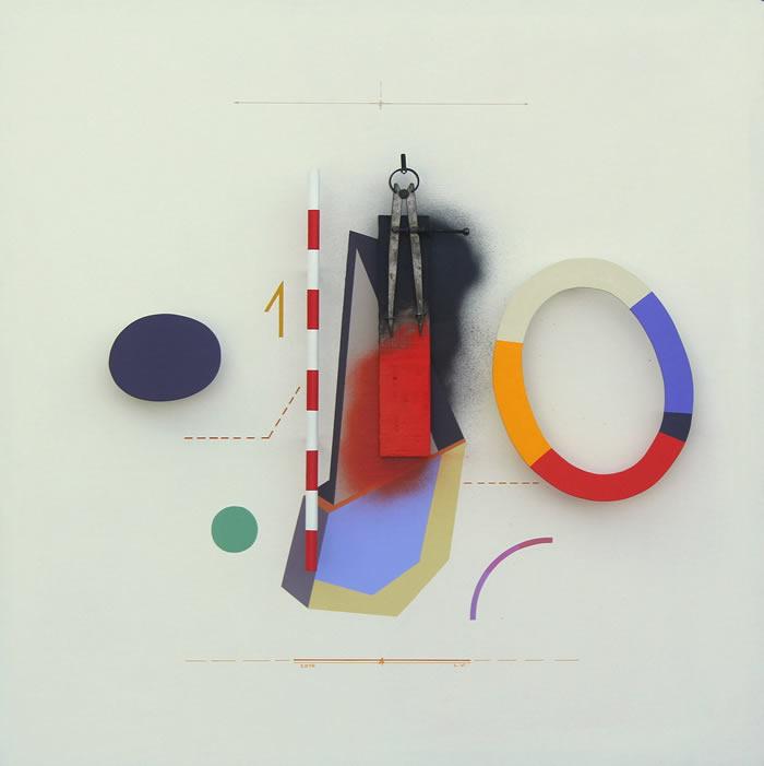 Relieves - Acrílico, spray y objetos sobre madera, 80 x 80 cm. 2016