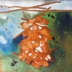 FLUX I - mixta y óleo sobre tela, 100 x 100 cm.