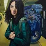 Alejandro Saavedra -Mochilera, óleo sobre lienzo 80 x 80 cm.