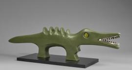 lagarto, acrilico con detalles en plata 970, 79x19x8cm