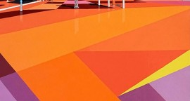 Carola Ramírez, Superkilen,Parque publico en Dinamarca II, acrílico sobre tela, 50 x 40 cm.