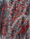 """Charo Artadi """"El Hilo Rojo más rojo"""" serie el Hilo Rojo, collage 100 x 90 cm."""