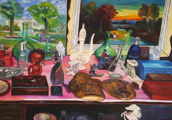 De la serie Camina el autor (Bodegón) - óleo y collage sobre lienzo, 70 x 100 cm.