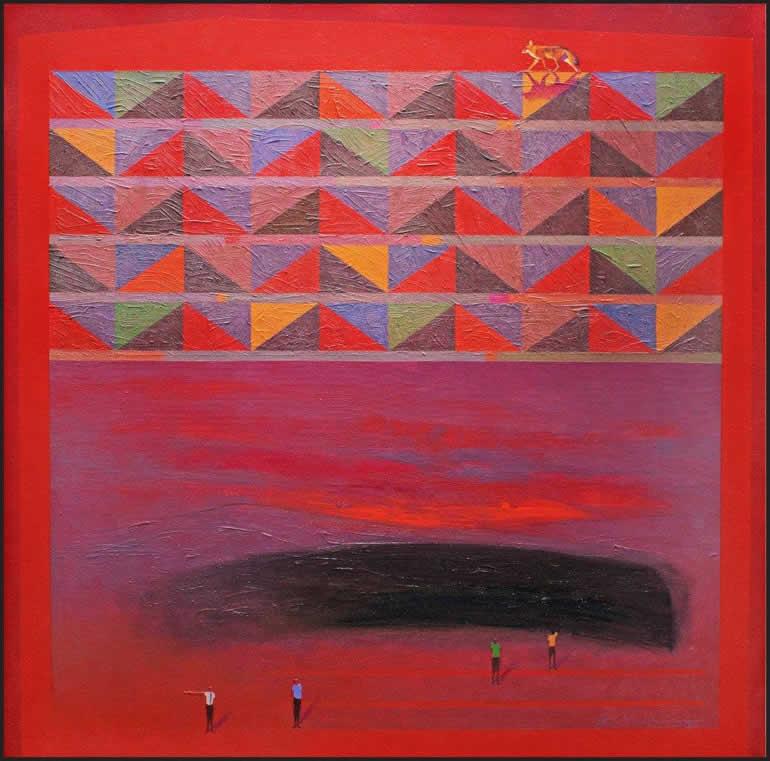 Horizonte infinito (2018) mixta, óleo y lápiz, 81 x 81 cm.