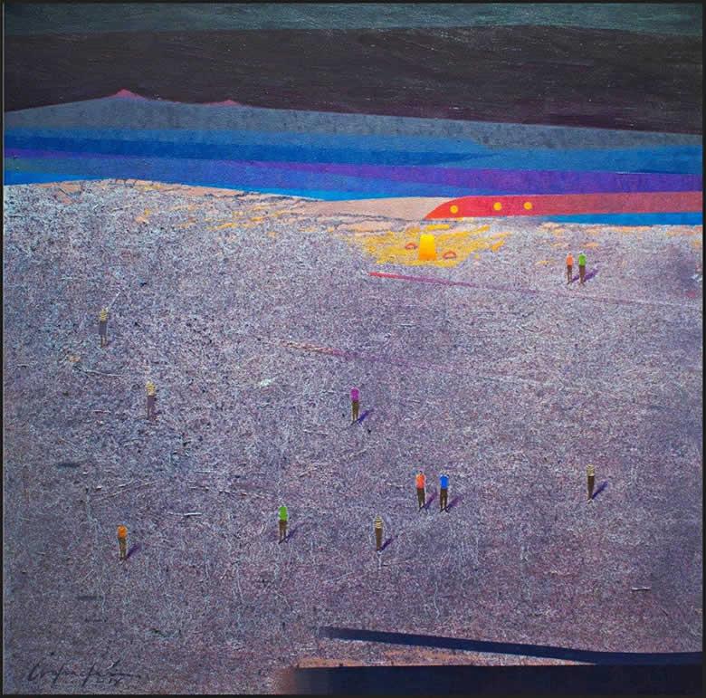Meditación sobre nuestra presencia (2018) óleo sobre lienzo, 110 x 110 cm.