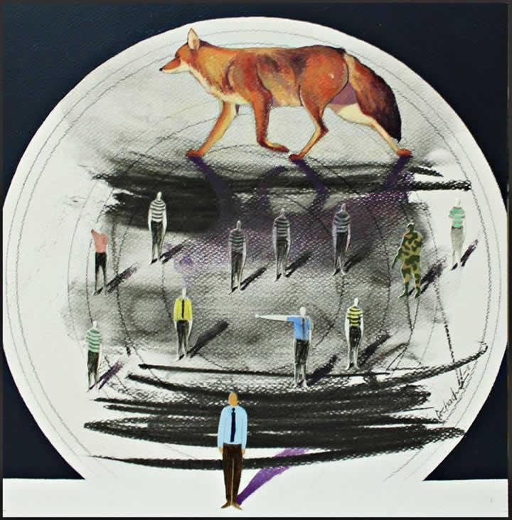 Sombras persistentes (2018) mixta, óleo, carbón y lápiz, 30 x 30 cm.
