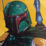 """Elías Alayza Prager Boba Fett óleo sobre lienzo 50x50cm 460 inc igv 148x150 -  """"Retrato Pop"""" Exposición colectiva"""