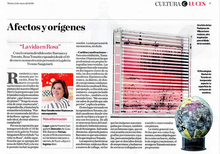 """El Comercio 2 01 2018 - """"La vida en... Rosa"""", individual de Rosa Tomatis"""