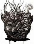 El diablo decapitado tinta china sobre papel 65 x50 cm 116x150 - Luis Castellanos