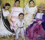 "Elke Mc Donald ""Posando para la foto"" (díptico) óleo 110 x 130 cm."