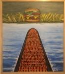 El sueño del migrante, óleo sobre trupán, 85 x 74 cm. 2018