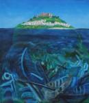 La isla feliz, óleo sobre trupán, 85 x 74 cm. 2018