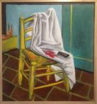 La silla, óleo sobre trupán, 85 x 80 cm. 2018