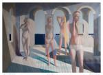 Las Bañistas - técnica mixta sobre tela, 200 x 300 cm.